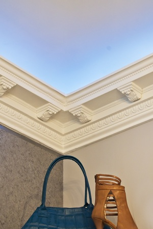the stucco ceiling mounted in luxurious room photo