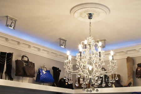 very expensive chandelier in an exclusive store