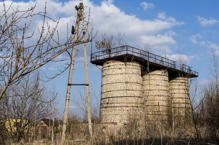 silos damaged in an old cement plant in Naklo photo
