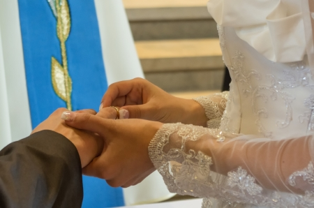 two golden rings, symbol of marriage photo