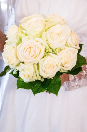 Wedding bouquet full of pretty flowers photo