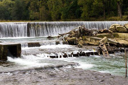 sola: Waterfall at Sola river in Wegierska gorka  Poland Stock Photo