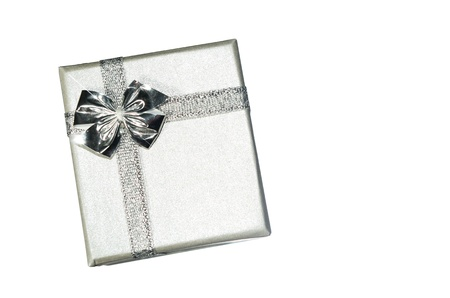 Silver box with bow on a white background