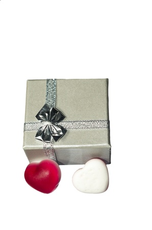 the  Silver box with bow and hearts photo