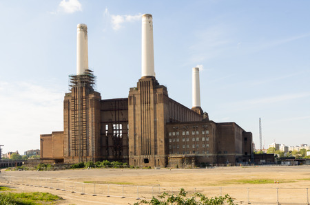 abandoned Battersea power station, the largest brick building Stock Photo