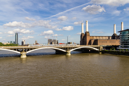 Chelsea Bridge over the river Thames in London photo