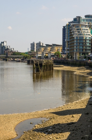destroyed bridge on the river thames in London photo