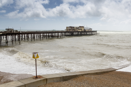 hastings: Burnt pier in Hastings, East Sussex, UK