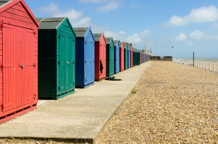 hastings: sheds on the seafront in Hastings, East Sussex Stock Photo