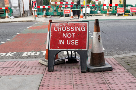 no way out: Crossing not in use - warning sign