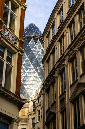 30 st mary axe: LONDON -  FEBRUARY 14 The Gherkin building in London,30 St  Mary Axe  England on february 24, 2014  The building was awarded a Royal Institute of British Architects Stirling Prize in 2004  Editorial