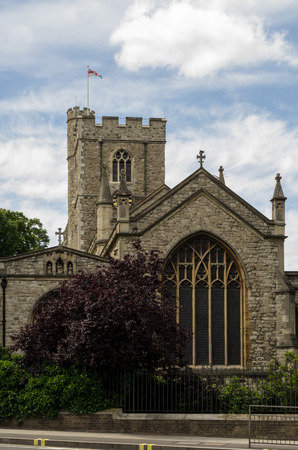 medieval stone church in London photo