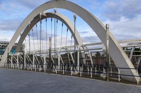 wembley: Modern suspension bridge in Wembley station, London
