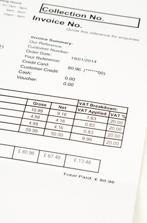 20 percent VAT tax invoice to pay, close-up photo