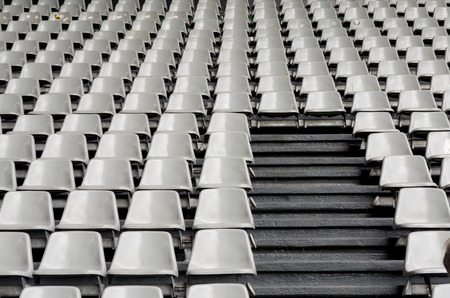 public sector: Tribune sports stadium, gray chairs arranged in rows