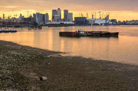 LONDON, UK - JULY 26 2014: Canary Wharf and o2 arena in  London UK