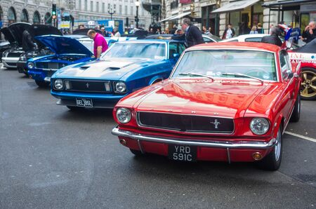 mustang gt: LONDON - November  01 : Regent street motor show - exhibition of mustangs and shelbyes. 1st November 2014 LONDON.UK Editorial