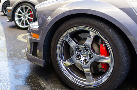sports car wheels, low profile tires on aluminum rims