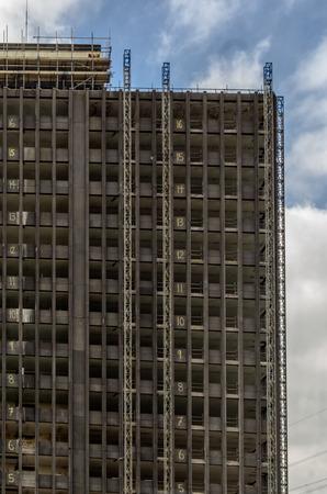 demolition: Ruined skyscraper during demolition work