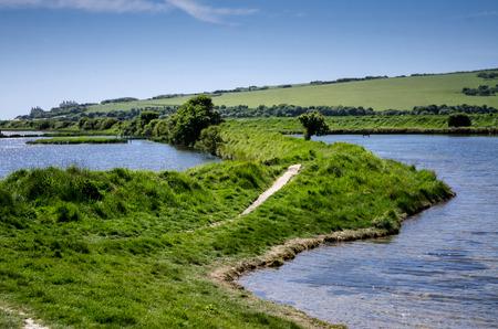 sussex: meandering river, seven sister, sussex , england