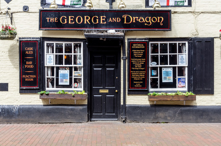 CHESHAM, UK - MAY 25: Entrence to the pub calling The George and Dragon).25 may 2018, chesham Uk