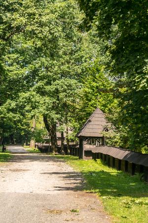 ot: Drewniany płot obronny, otaczający średniowieczną wioskę