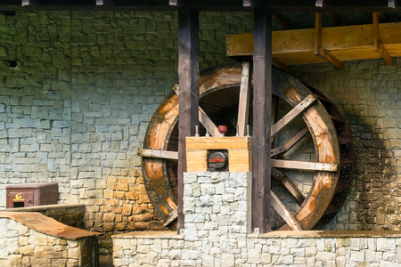 waterwheel: fragment of an old mill water-powered