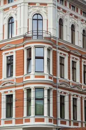 fretwork: the decorated facade of building Stock Photo
