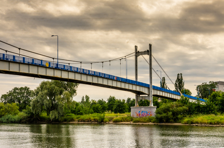 steel wire: Cloudy day at odra river in wroclaw Stock Photo
