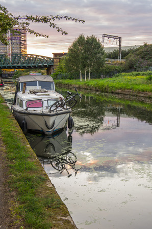somewhere: the barge at canal, somewhere in London Stock Photo