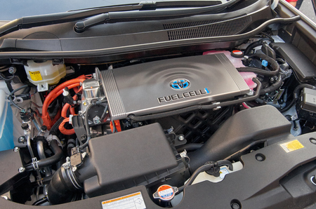 31st: LONDON -October 31 : Regent street motor show - Fuelcell engin by toyota. 31st October 2015 LONDON.UK