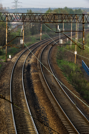 twisting railway tracks with electric traction