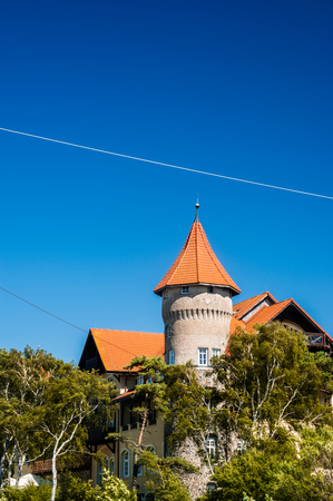 apartment tower old town: Leba. Poland, July 3 Hotel Neptuin in leba. Poland 2016 July 03 Editorial