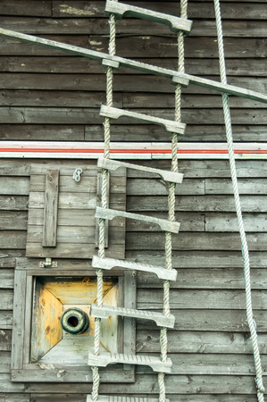 rope ladder: a rope ladder , part of pirat ship