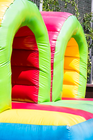 the blown castle - a ruuber blowned playgrond for children Stock Photo