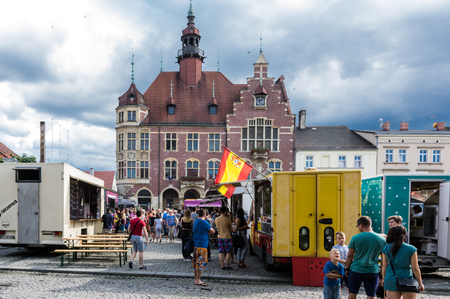 TARNOWSKIE GORY. POLAND  - july 30: A people buy meals from food trucks July 30, 2016 in Tarnowskie gory, Silesia, Poland Publikacyjne