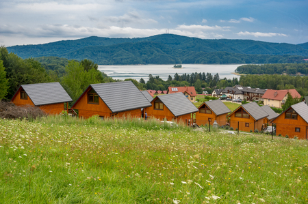 A panoramic view at solina Lake. Poland Stock Photo