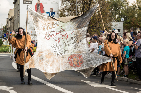 TARNOWSKIE GORY,POLAND - SEPTEMBER 10 2017:  Gwarki a street parade at Tarnowskie gory town. Celebretion of Gwarki days Silver miners