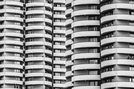 A lots of balcony, facade of skyscraper.