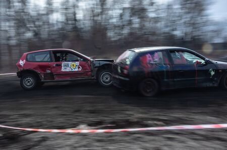 Gliwice, Silesia voivodship, Poland - 10 march 2019 - Silesian wrack race. a competition wrack cars. panning style photo