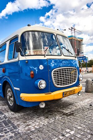 Warsawa, Poland - 28 June 2019 -  Old polich bus - Jelcz called cucamber