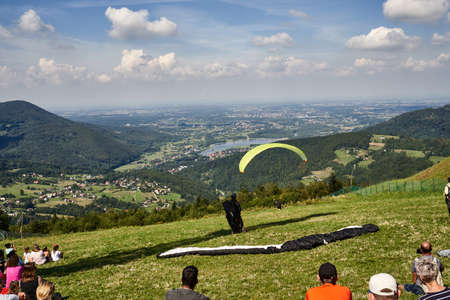 Zar mountain, Beskid, Poland 20 August 2020 Paragliders at the hill