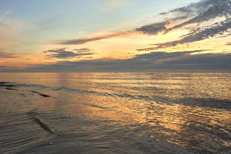 A sunrise on  Baltic sea, Poland, Hel beach