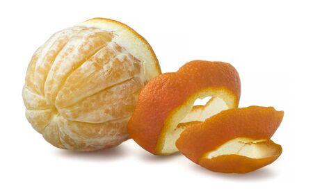 peel: Orange with cut peel Stock Photo
