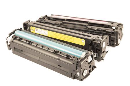 Laser cartridges isolated on a white background Standard-Bild