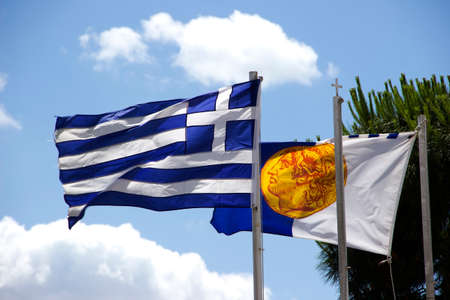 alexander the great: Greek flag and the flag of Alexander the Great