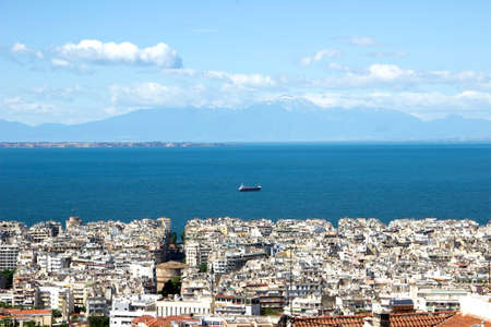 Panorama of the Thessaloniki town with the sea at the background Stock Photo