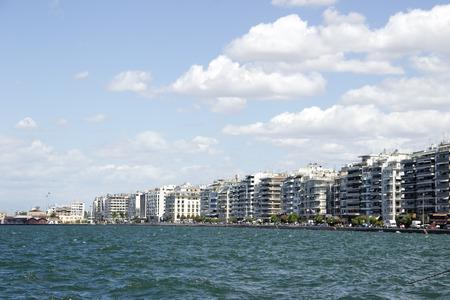 thessaloniki: View from the sea on Thessaloniki City Stock Photo
