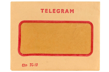 telegram: Old telegram envelope isolated on white Stock Photo