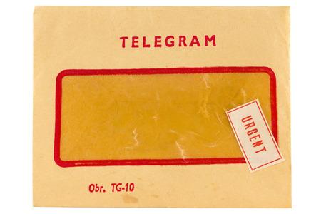 telegrama: Dotaci�n telegrama viejo con marca urgente aislados en blanco Foto de archivo